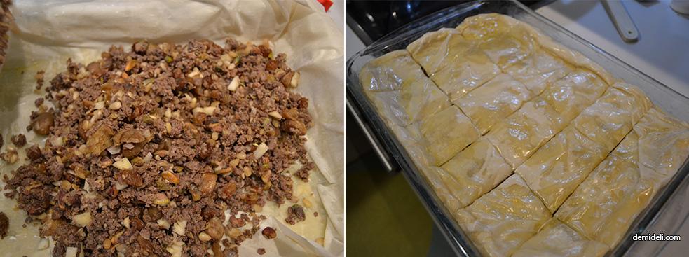 Πίτα με κιμά, αποξηραμένα φρούτα και ξηρούς καρπούς